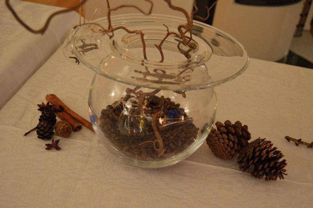 Boblevasen fylt med kaffebønner
