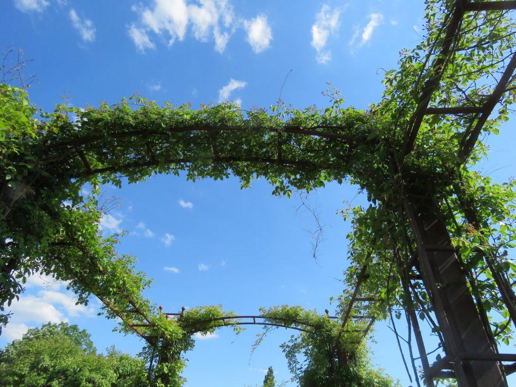 Portal som etterhvert dekkes av klatrerosen. Rosariet i Jönköping, Småland