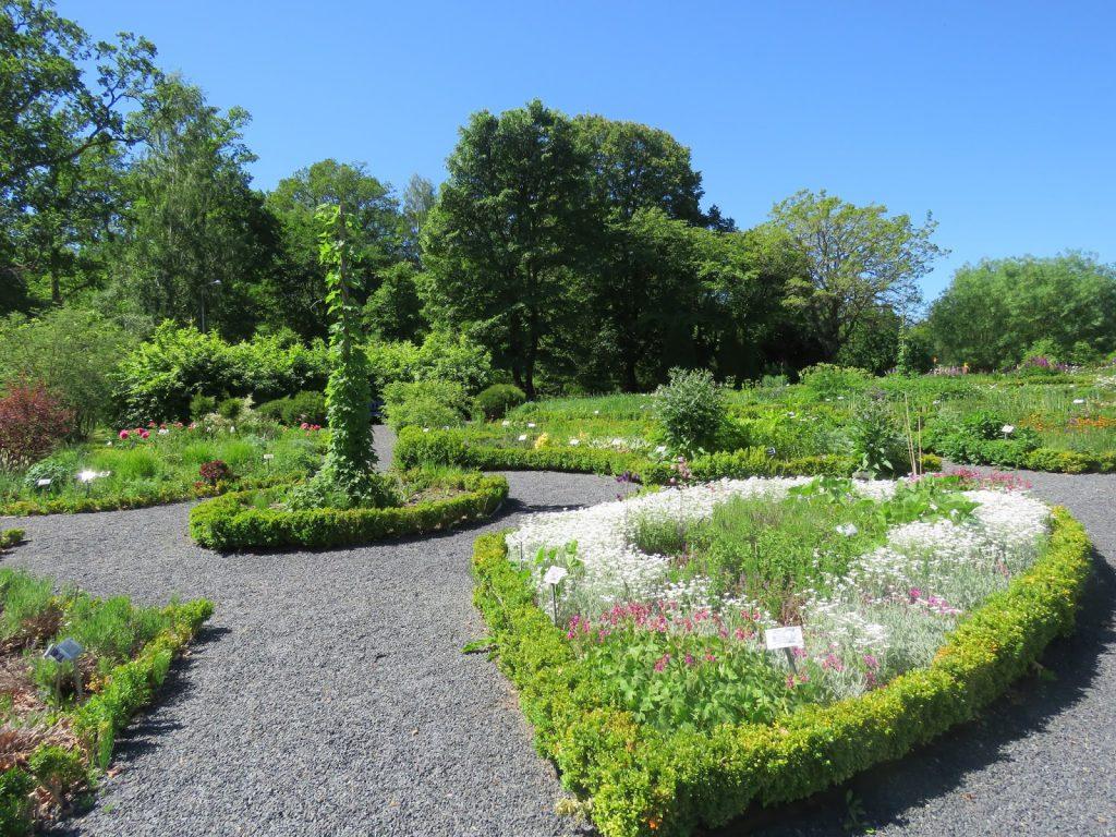 Inndeling av innrammede bed i Wisingsborg trädgård på Visindö i Vättern, Småland