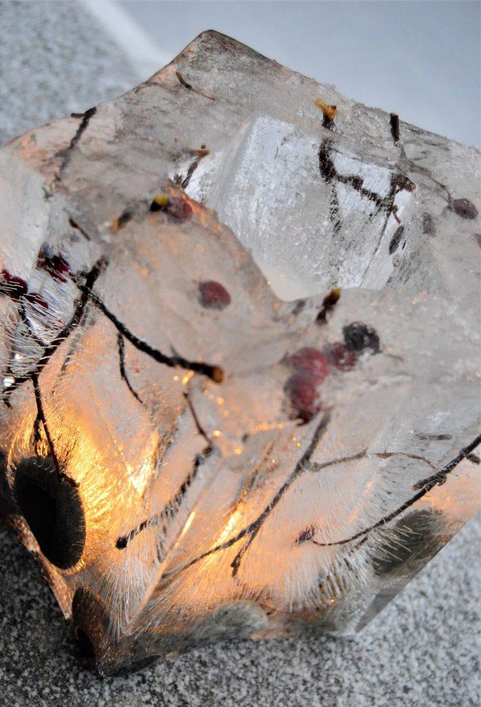Tips til å lage islykter. Isform hvor jeg har lagt inn greiner og runde steiner. Furulunden. DSC_0007