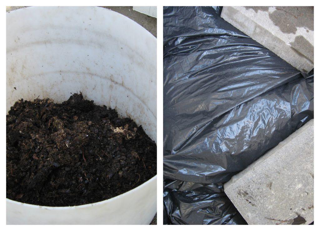 Oppbevaring av kompost til den er klar til bruk