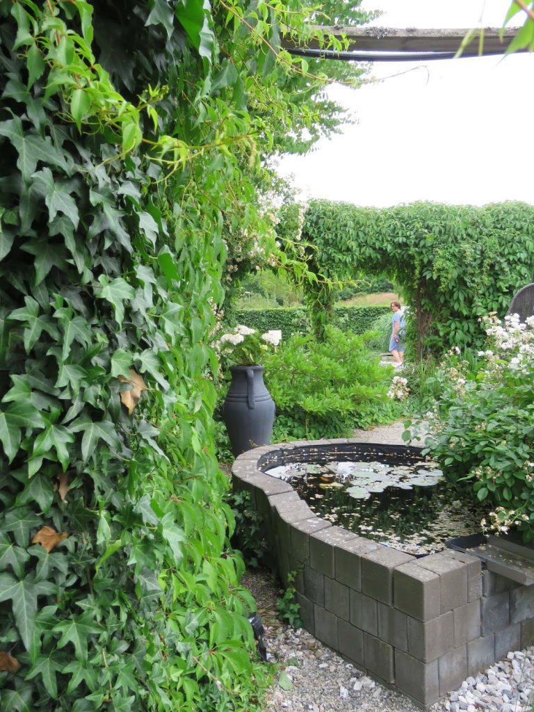 Nyt den hvite hagen - Dam og to pergolaer i my whiye garden, trädgårdsrundan, Helsingborg