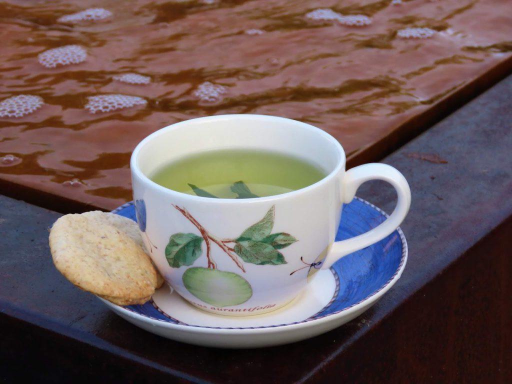 Sommerens kjeks laget med lavendelsukker - kopp te med kjeks står på vannbordet