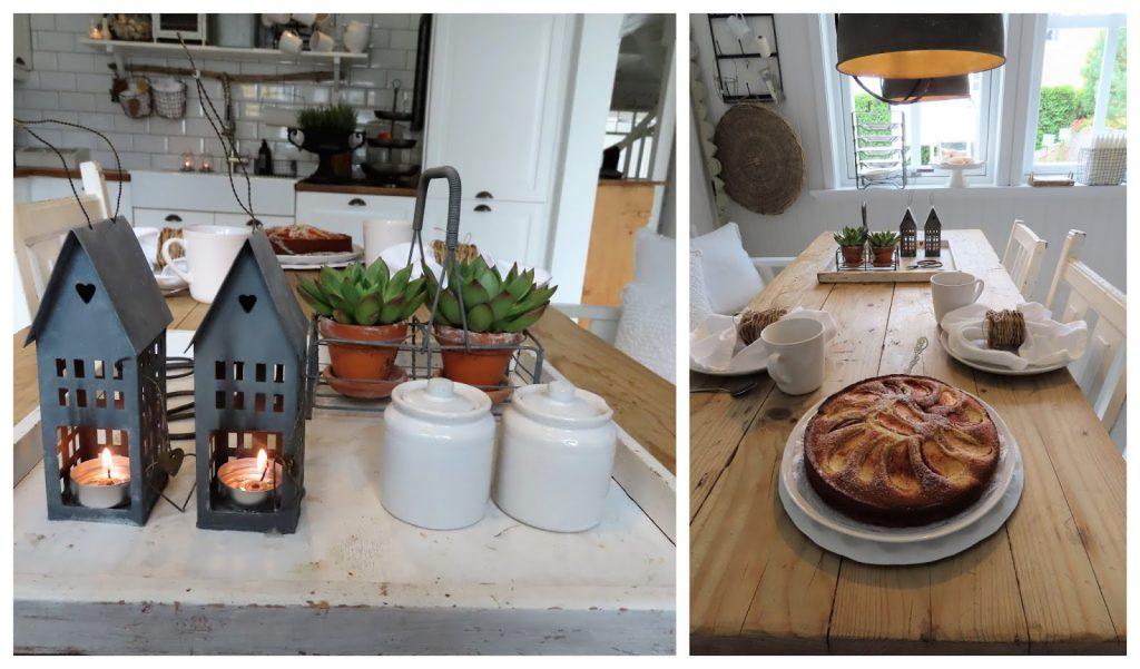 Når interiør og hage samsvarer - hjemme hos Jeanette - kjøkkenbordet er dekket til kaffe og kake