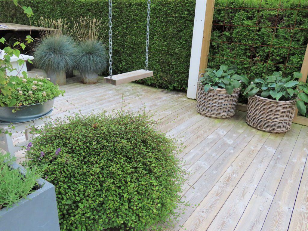 Når interiør og hage samsvarer - hjemme hos Jeanette,  her ser du en liten del av terrassen - hagen