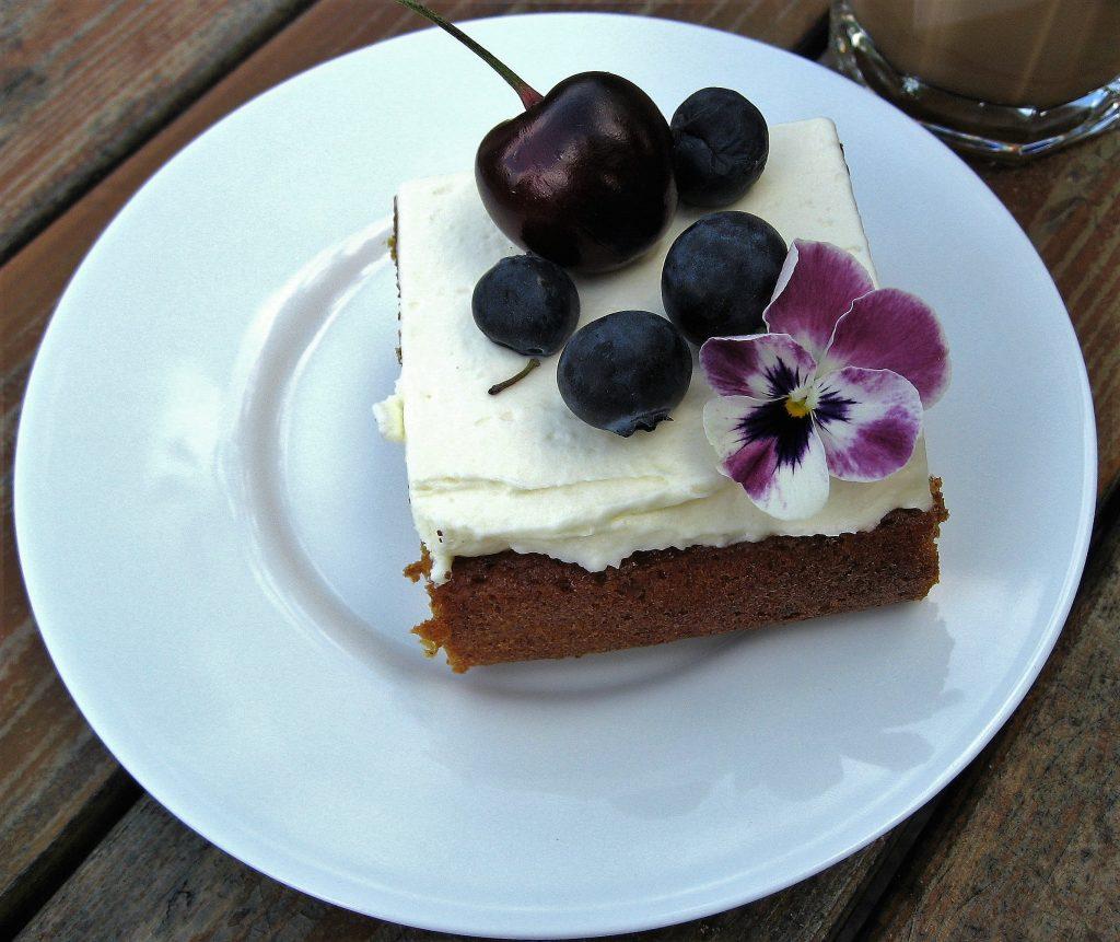 På utflukt til Gøteborgs botaniske Hage - Lekkert kakestykke i kafeen