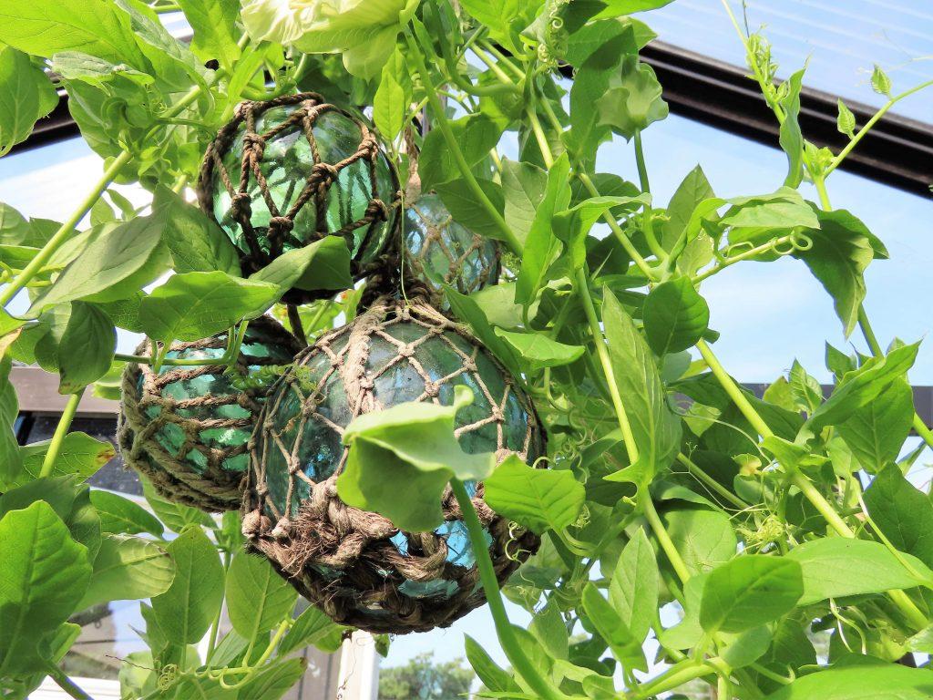 På hagevandring hos Wenche - garnblåser som dekorelement