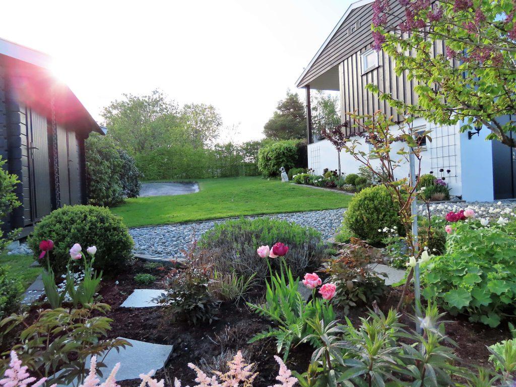 Urbant og landlig med stauder og stillebener - oversikt over hagen